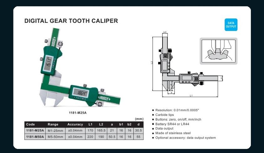 Insize measuring jual alat ukur insize digital gear tooth caliper contact us ccuart Choice Image